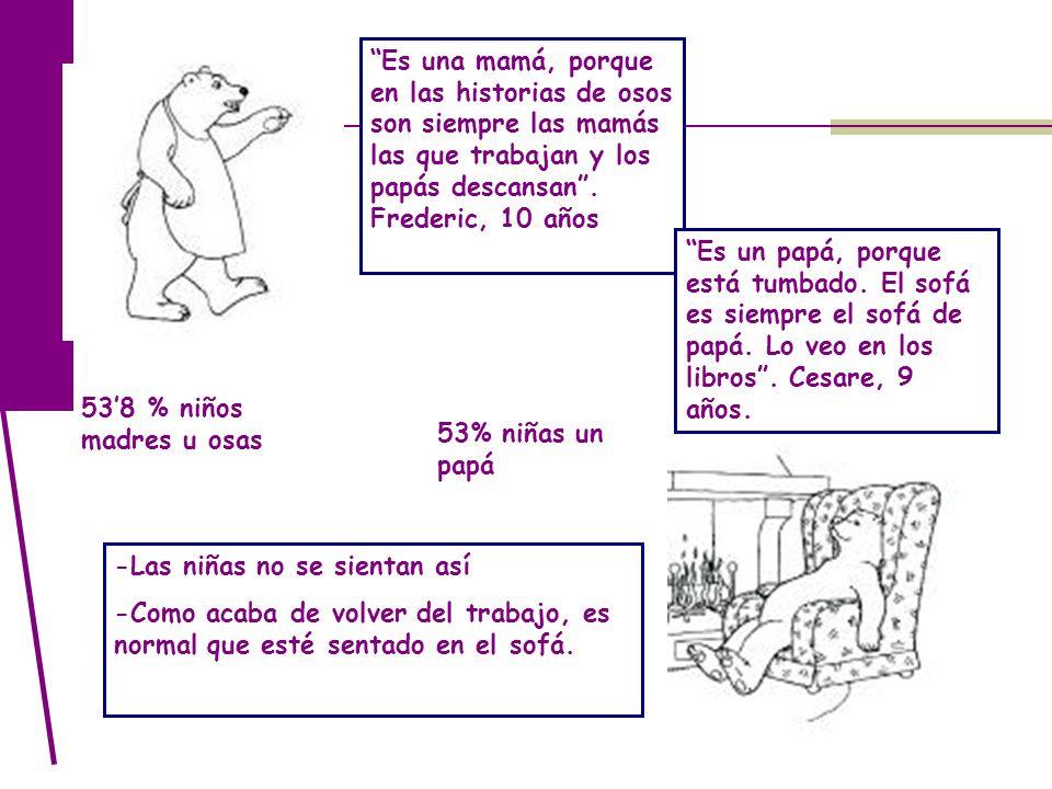 538 % niños madres u osas Es una mamá, porque en las historias de osos son siempre las mamás las que trabajan y los papás descansan. Frederic, 10 años