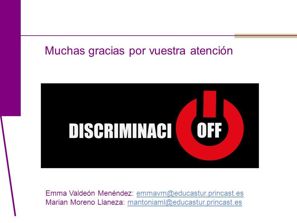 Muchas gracias por vuestra atención Emma Valdeón Menéndez: emmavm@educastur.princast.esemmavm@educastur.princast.es Marian Moreno Llaneza: mantoniaml@