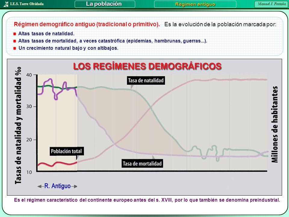 I.E.S. Torre Olvidada Manuel J. Pestaña La población Régimen antiguo Régimen demográfico antiguo (tradicional o primitivo). Altas tasas de natalidad.