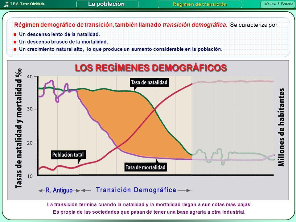 I.E.S. Torre Olvidada Manuel J. Pestaña La población Régimen de transición Régimen demográfico de transición, también llamado transición demográfica.