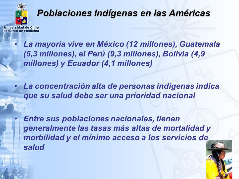 Poblaciones Indígenas en las Américas Aproximadamente 42 millones personas indígenas en las Américas 400 grupos étnicos diferentes 6% de la población total de las Américas 10% de la población total de América Latina y el Caribe El 80% viven en Centroamérica y los Andes centrales