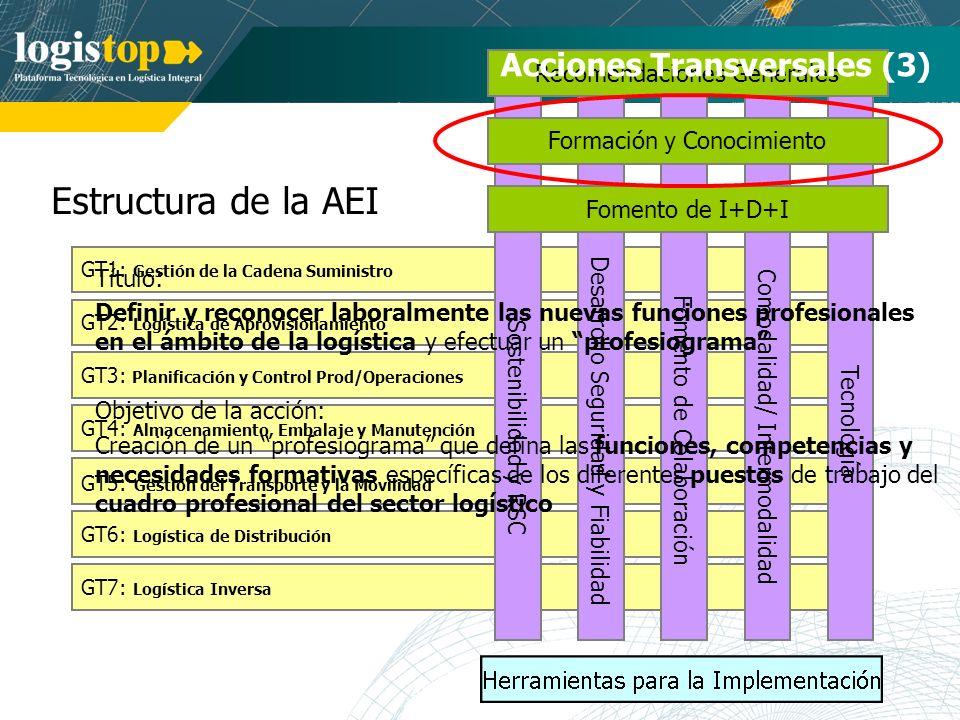 Estructura de la AEI GT7: Logística Inversa GT1: Gestión de la Cadena Suministro GT2: Logística de Aprovisionamiento GT3: Planificación y Control Prod/Operaciones GT4: Almacenamiento, Embalaje y Manutención GT5: Gestión del Transporte y la Movilidad GT6: Logística de Distribución Sostenibilidad y RSC Tecnología Comodalidad/ Intermodalidad Desarrollo Seguridad y Fiabilidad Fomento de Colaboración Recomendaciones Generales Formación y Conocimiento Fomento de I+D+I Acciones Transversales (3) Título: Definir y reconocer laboralmente las nuevas funciones profesionales en el ámbito de la logística y efectuar un profesiograma Objetivo de la acción: Creación de un profesiograma que defina las funciones, competencias y necesidades formativas específicas de los diferentes puestos de trabajo del cuadro profesional del sector logístico
