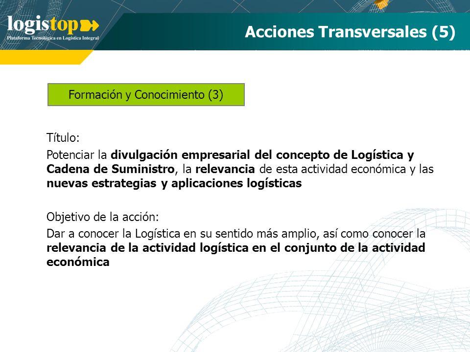 Formación y Conocimiento (3) Acciones Transversales (5) Título: Potenciar la divulgación empresarial del concepto de Logística y Cadena de Suministro,