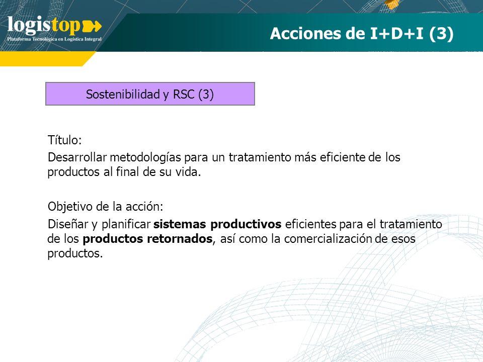 Acciones de I+D+I (3) Título: Desarrollar metodologías para un tratamiento más eficiente de los productos al final de su vida. Objetivo de la acción: