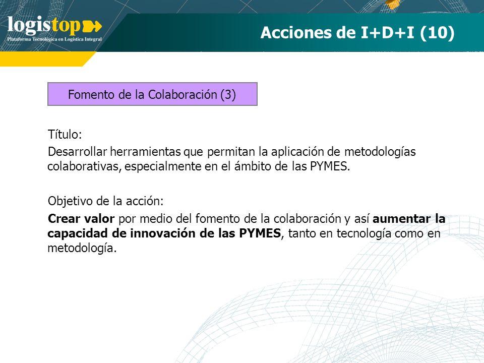 Acciones de I+D+I (10) Título: Desarrollar herramientas que permitan la aplicación de metodologías colaborativas, especialmente en el ámbito de las PY