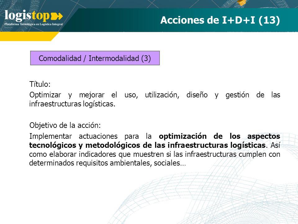 Acciones de I+D+I (13) Título: Optimizar y mejorar el uso, utilización, diseño y gestión de las infraestructuras logísticas. Objetivo de la acción: Im