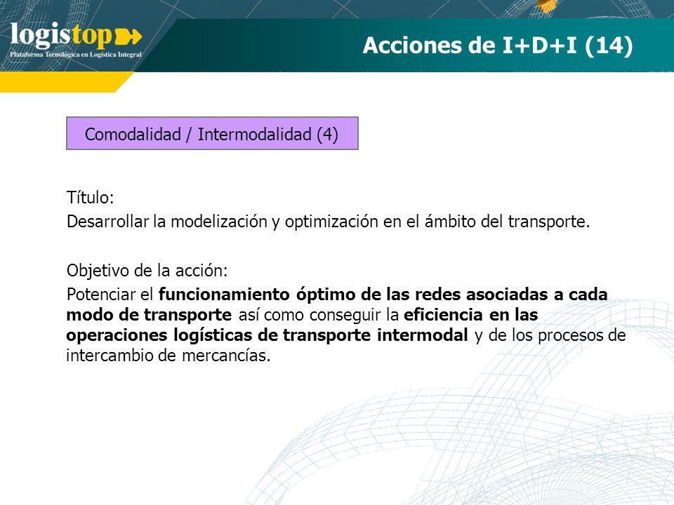 Acciones de I+D+I (14) Título: Desarrollar la modelización y optimización en el ámbito del transporte. Objetivo de la acción: Potenciar el funcionamie