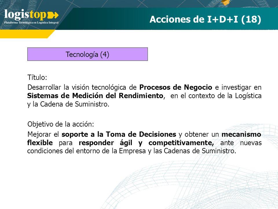 Acciones de I+D+I (18) Título: Desarrollar la visión tecnológica de Procesos de Negocio e investigar en Sistemas de Medición del Rendimiento, en el co