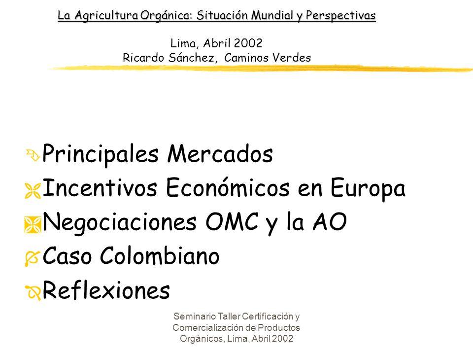 Seminario Taller Certificación y Comercialización de Productos Orgánicos, Lima, Abril 2002 Area Certificada en Colombia (Has), 2001 l CERTIFICADORAAREA l CCI (BCS) 6.808 l BIOTROPICO (Ecocert) 7.315 l BIOLATINA1.200 l IMO123 TOTAL 15.446