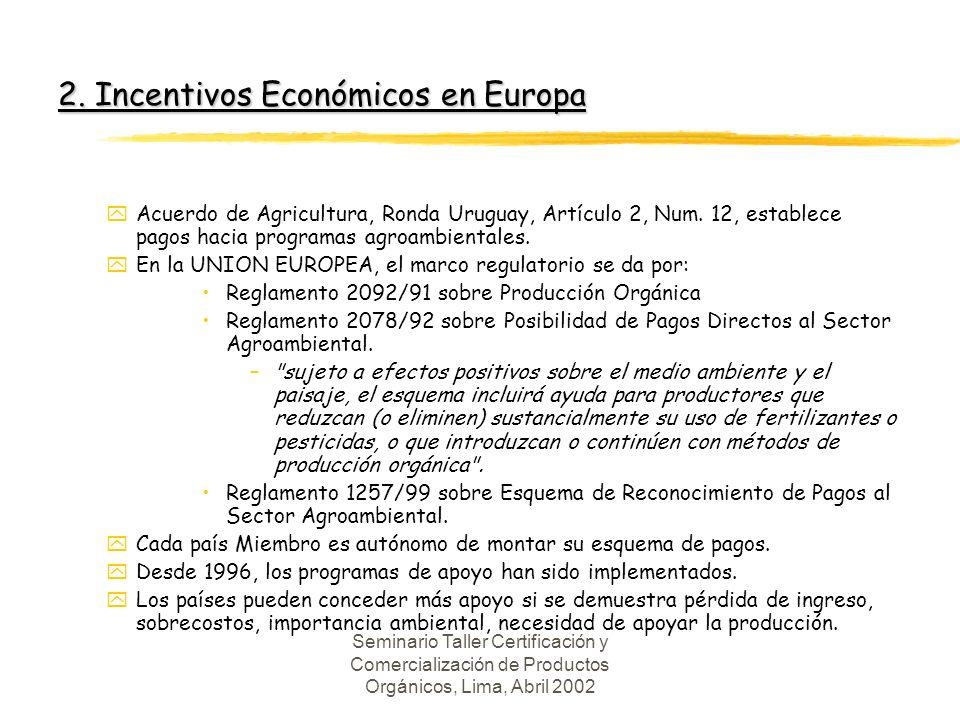 Seminario Taller Certificación y Comercialización de Productos Orgánicos, Lima, Abril 2002 2.