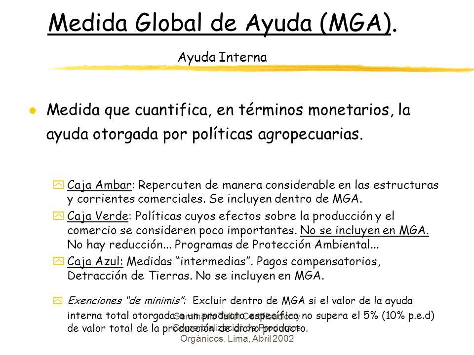 Seminario Taller Certificación y Comercialización de Productos Orgánicos, Lima, Abril 2002 Medida Global de Ayuda (MGA).