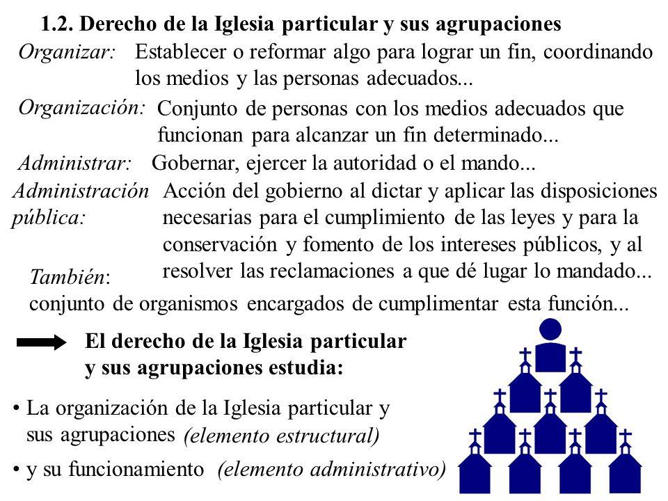 1.2. Derecho de la Iglesia particular y sus agrupaciones Organizar:Establecer o reformar algo para lograr un fin, coordinando los medios y las persona