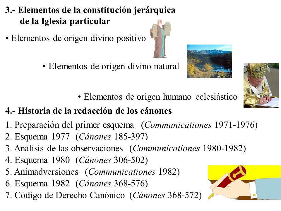 Elementos de origen divino positivo Elementos de origen divino natural Elementos de origen humano eclesiástico 3.- Elementos de la constitución jerárq