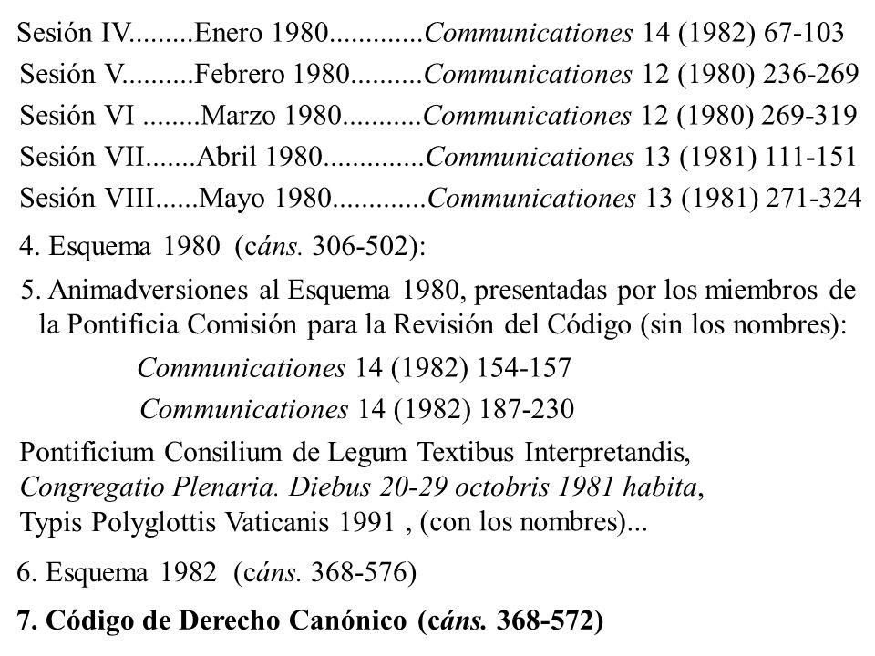 4. Esquema 1980(cáns. 306-502): 6. Esquema 1982(cáns. 368-576) 7. Código de Derecho Canónico(cáns. 368-572) 5. Animadversiones al Esquema 1980, presen