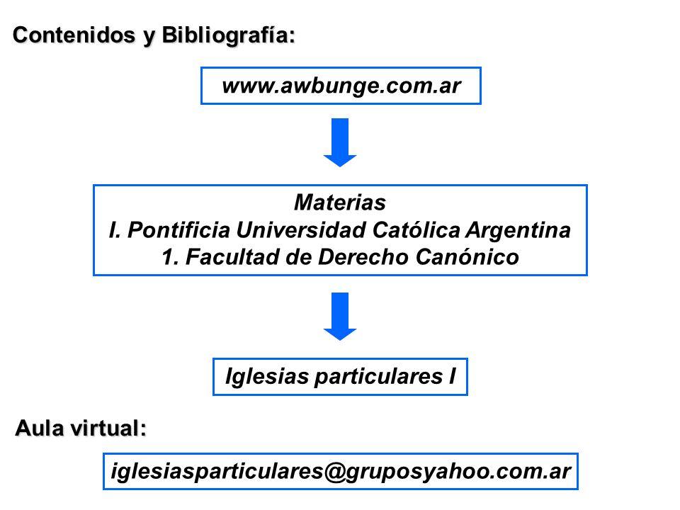 Contenidos y Bibliografía: www.awbunge.com.ar Materias I. Pontificia Universidad Católica Argentina 1. Facultad de Derecho Canónico Iglesias particula