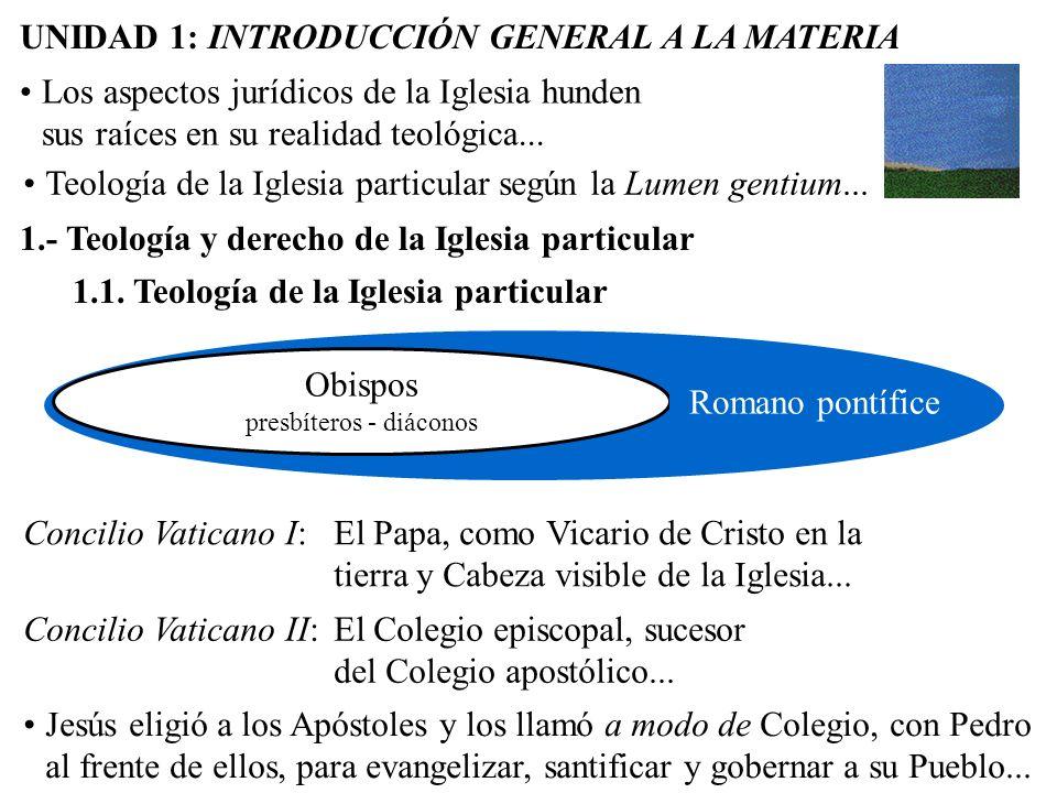 1.1. Teología de la Iglesia particular UNIDAD 1: INTRODUCCIÓN GENERAL A LA MATERIA PedroApóstolesRomano pontífice Obispos presbíteros - diáconos 1.- T