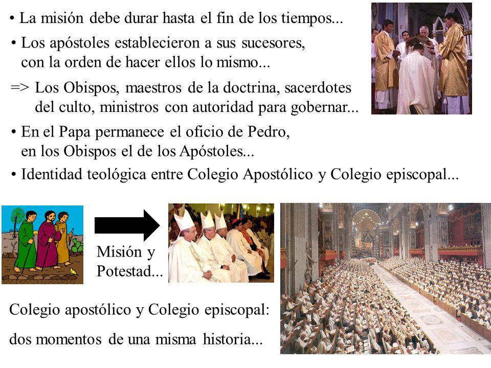 Misión y Potestad... Colegio apostólico y Colegio episcopal: dos momentos de una misma historia... La misión debe durar hasta el fin de los tiempos...