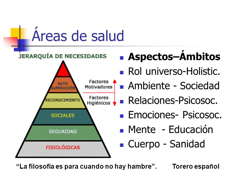 Áreas de salud Aspectos–Ámbitos Rol universo-Holistic. Ambiente - Sociedad Relaciones-Psicosoc. Emociones- Psicosoc. Mente - Educación Cuerpo - Sanida