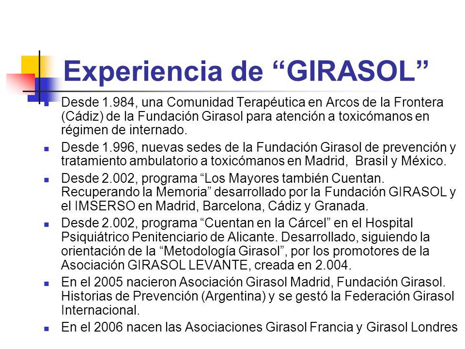 Experiencia de GIRASOL Desde 1.984, una Comunidad Terapéutica en Arcos de la Frontera (Cádiz) de la Fundación Girasol para atención a toxicómanos en r