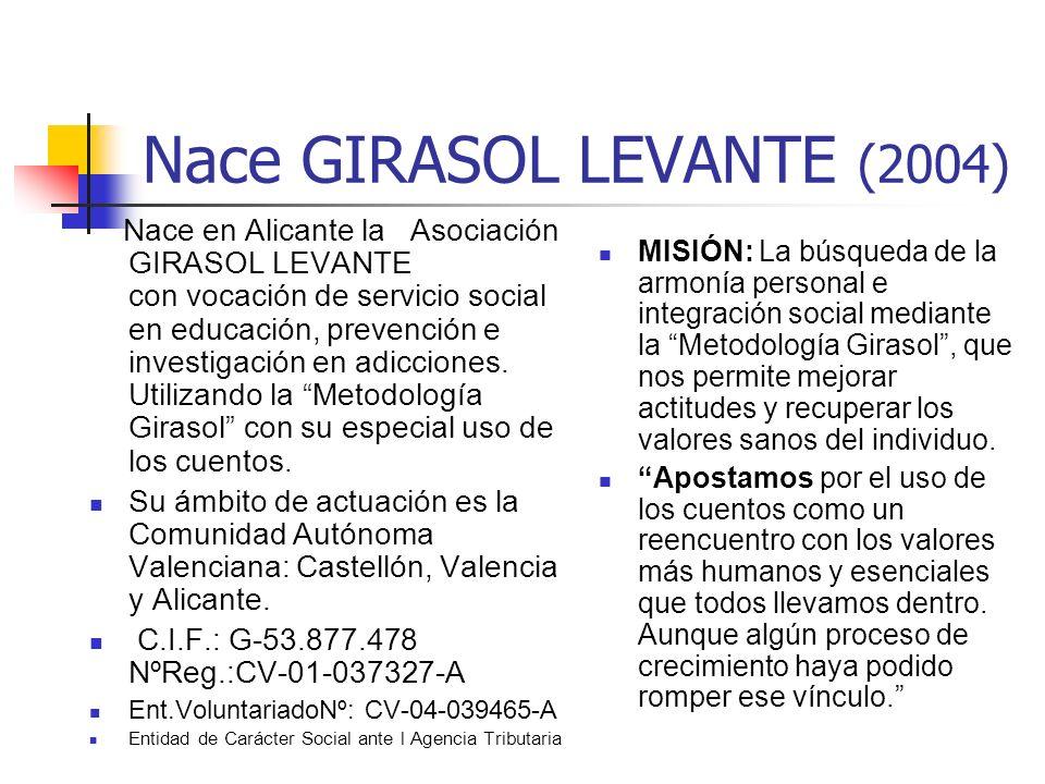 Nace GIRASOL LEVANTE (2004) Nace en Alicante la Asociación GIRASOL LEVANTE con vocación de servicio social en educación, prevención e investigación en