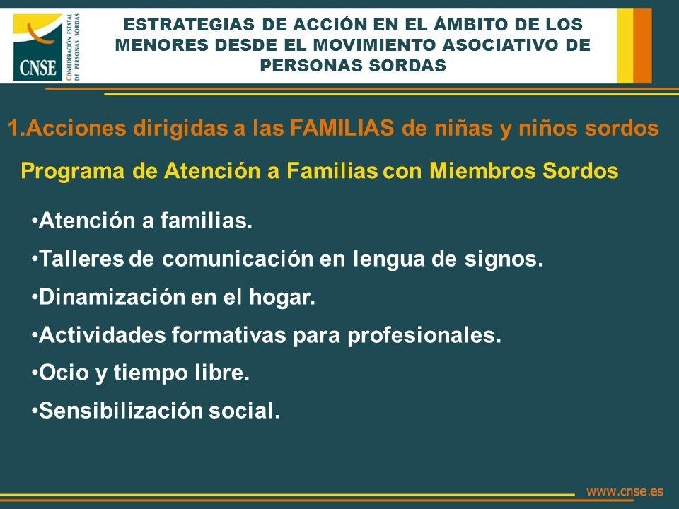 ESTRATEGIAS DE ACCIÓN EN EL ÁMBITO DE LOS MENORES DESDE EL MOVIMIENTO ASOCIATIVO DE PERSONAS SORDAS 1.Acciones dirigidas a las FAMILIAS de niñas y niñ