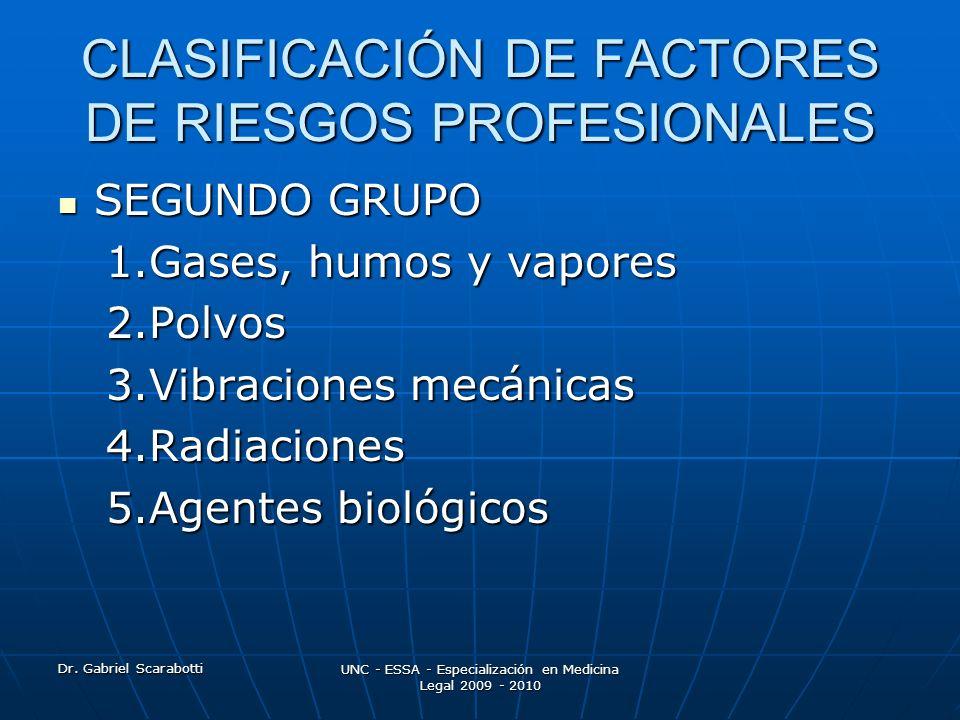 Dr. Gabriel Scarabotti UNC - ESSA - Especialización en Medicina Legal 2009 - 2010 CLASIFICACIÓN DE FACTORES DE RIESGOS PROFESIONALES SEGUNDO GRUPO SEG