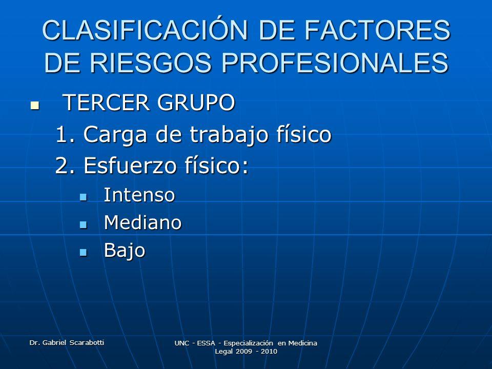 Dr. Gabriel Scarabotti UNC - ESSA - Especialización en Medicina Legal 2009 - 2010 CLASIFICACIÓN DE FACTORES DE RIESGOS PROFESIONALES TERCER GRUPO TERC