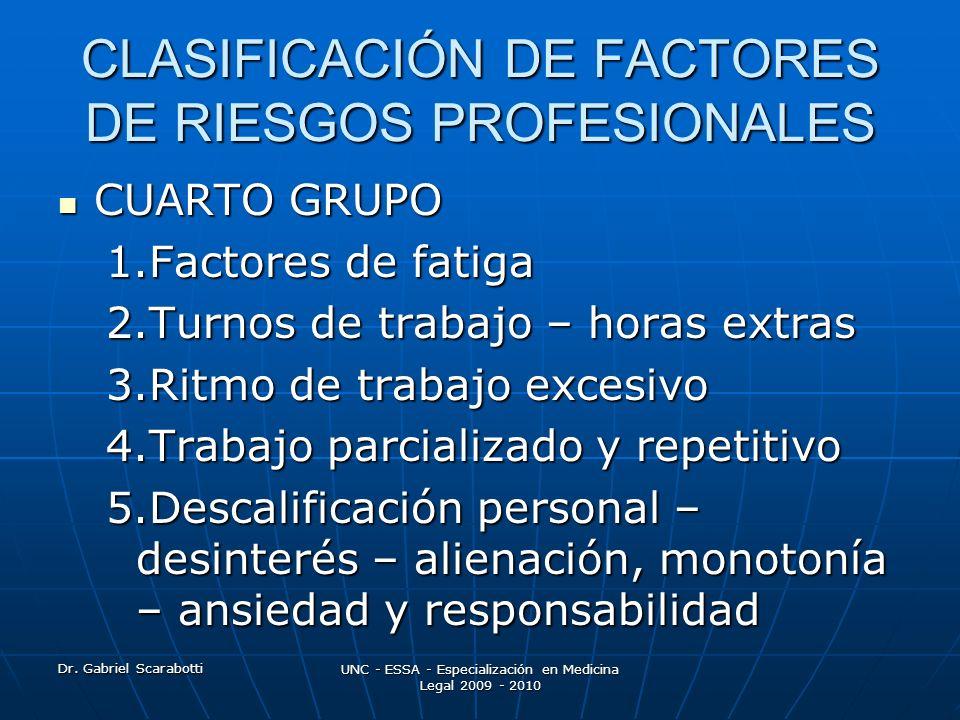 Dr. Gabriel Scarabotti UNC - ESSA - Especialización en Medicina Legal 2009 - 2010 CLASIFICACIÓN DE FACTORES DE RIESGOS PROFESIONALES CUARTO GRUPO CUAR