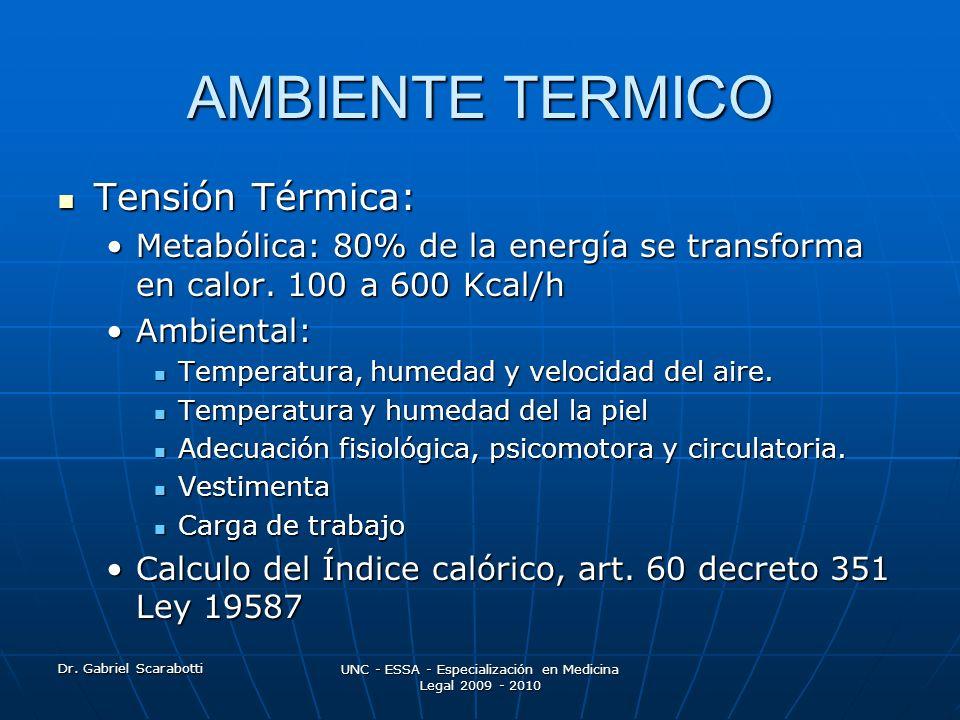 Dr. Gabriel Scarabotti UNC - ESSA - Especialización en Medicina Legal 2009 - 2010 AMBIENTE TERMICO Tensión Térmica: Tensión Térmica: Metabólica: 80% d
