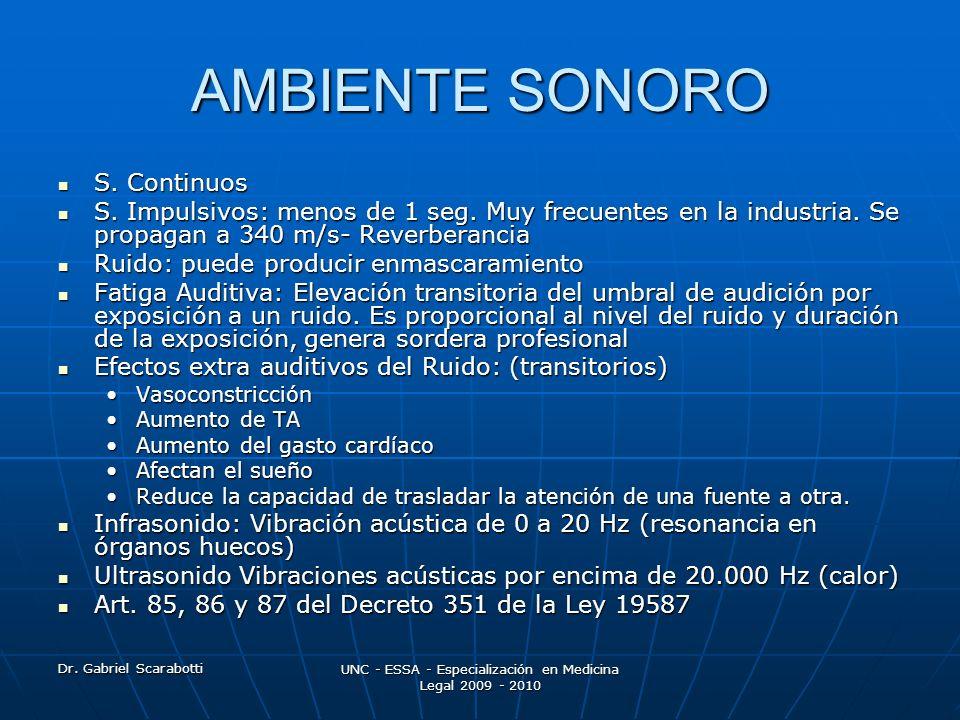 Dr. Gabriel Scarabotti UNC - ESSA - Especialización en Medicina Legal 2009 - 2010 AMBIENTE SONORO S. Continuos S. Continuos S. Impulsivos: menos de 1