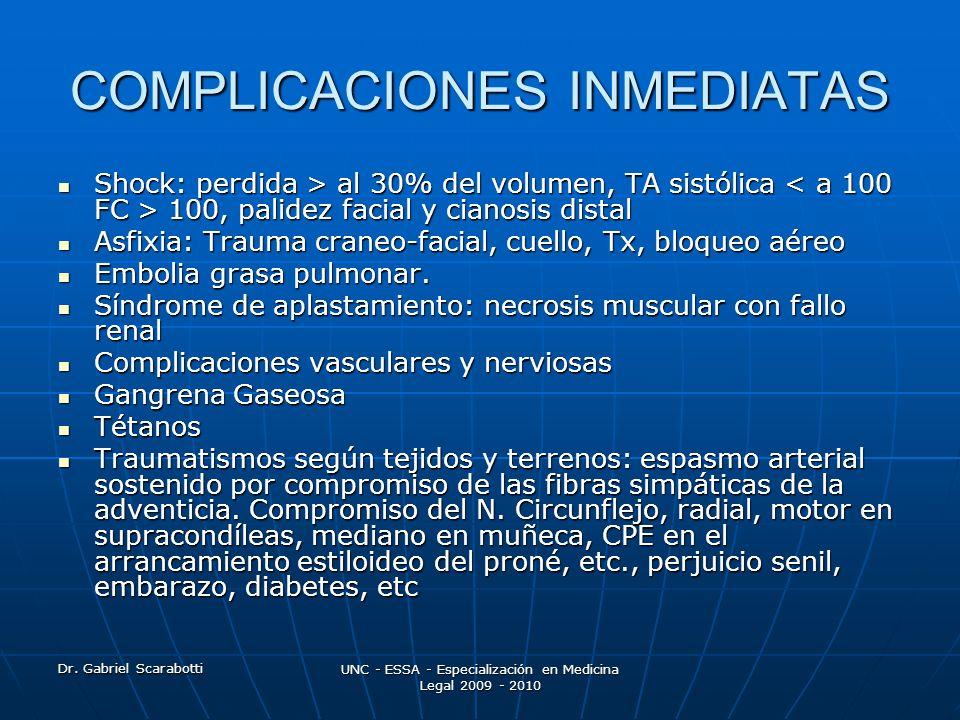 Dr. Gabriel Scarabotti UNC - ESSA - Especialización en Medicina Legal 2009 - 2010 COMPLICACIONES INMEDIATAS Shock: perdida > al 30% del volumen, TA si