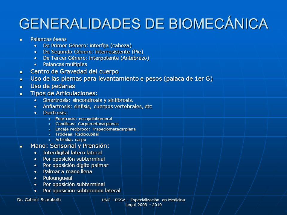 Dr. Gabriel Scarabotti UNC - ESSA - Especialización en Medicina Legal 2009 - 2010 GENERALIDADES DE BIOMECÁNICA Palancas óseas Palancas óseas De Primer