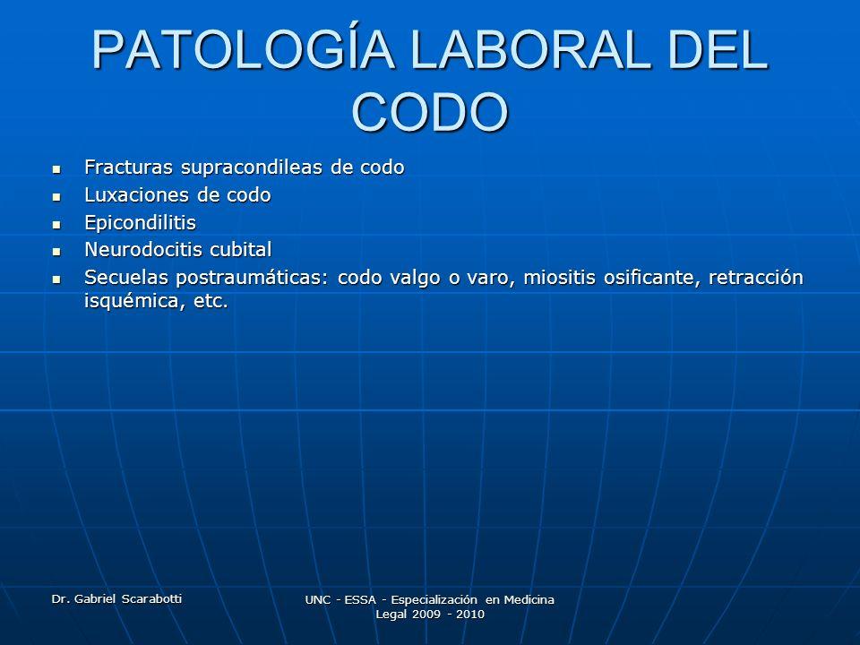 Dr. Gabriel Scarabotti UNC - ESSA - Especialización en Medicina Legal 2009 - 2010 PATOLOGÍA LABORAL DEL CODO Fracturas supracondileas de codo Fractura