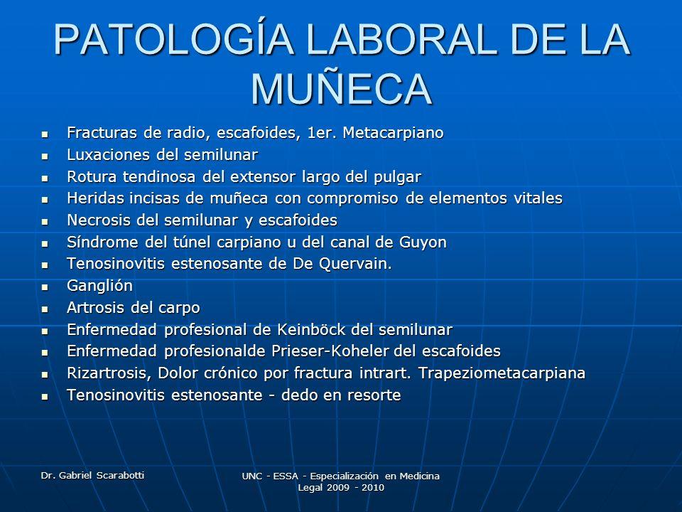 Dr. Gabriel Scarabotti UNC - ESSA - Especialización en Medicina Legal 2009 - 2010 PATOLOGÍA LABORAL DE LA MUÑECA Fracturas de radio, escafoides, 1er.