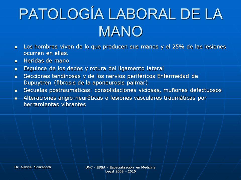 Dr. Gabriel Scarabotti UNC - ESSA - Especialización en Medicina Legal 2009 - 2010 PATOLOGÍA LABORAL DE LA MANO Los hombres viven de lo que producen su