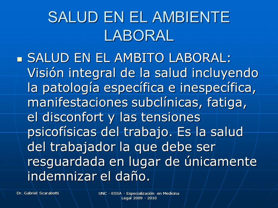 Dr. Gabriel Scarabotti UNC - ESSA - Especialización en Medicina Legal 2009 - 2010 SALUD EN EL AMBIENTE LABORAL SALUD EN EL AMBITO LABORAL: Visión inte