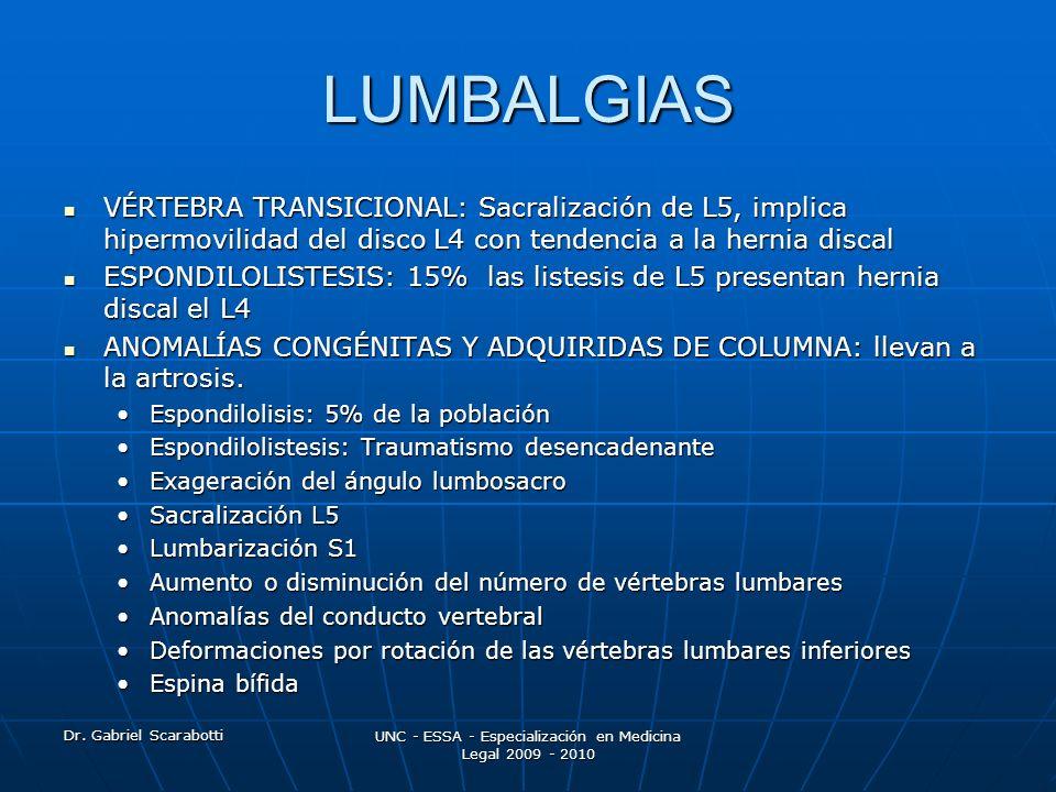 Dr. Gabriel Scarabotti UNC - ESSA - Especialización en Medicina Legal 2009 - 2010 LUMBALGIAS VÉRTEBRA TRANSICIONAL: Sacralización de L5, implica hiper
