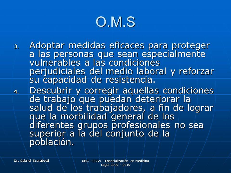 Dr. Gabriel Scarabotti UNC - ESSA - Especialización en Medicina Legal 2009 - 2010 O.M.S 3. Adoptar medidas eficaces para proteger a las personas que s