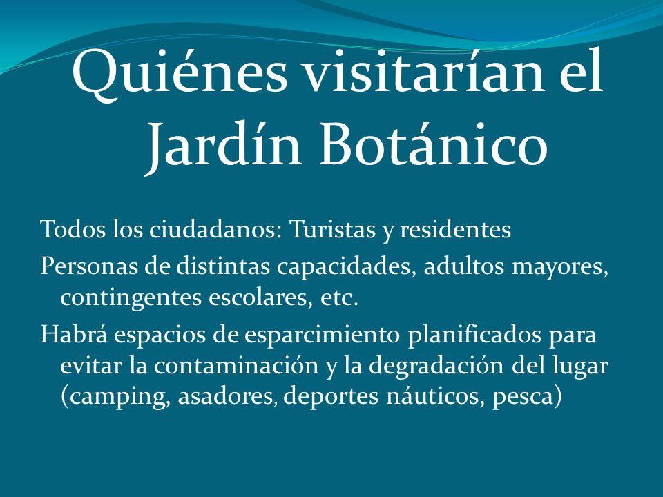 Quiénes visitarían el Jardín Botánico Todos los ciudadanos: Turistas y residentes Personas de distintas capacidades, adultos mayores, contingentes esc