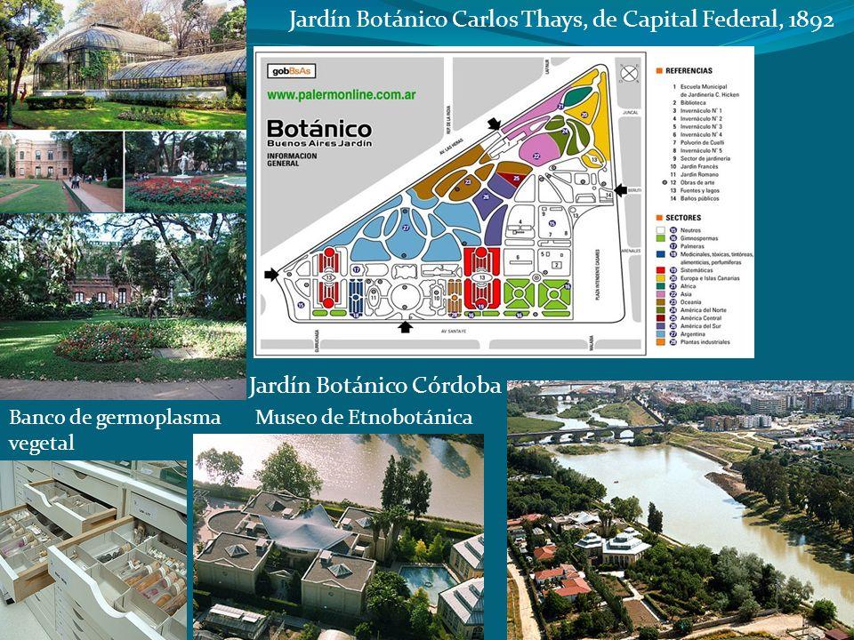 Jardín Botánico Carlos Thays, de Capital Federal, 1892 Jardín Botánico Córdoba Museo de EtnobotánicaBanco de germoplasma vegetal