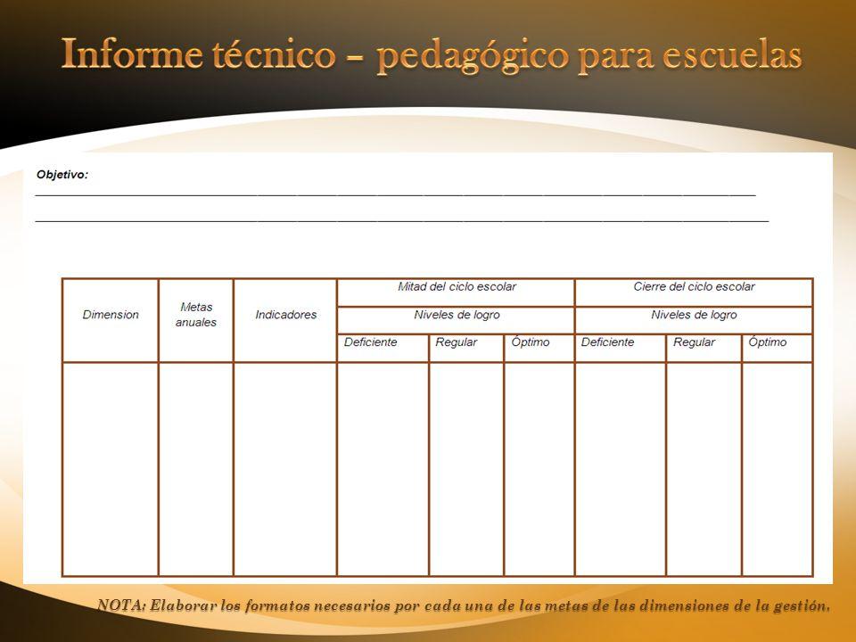 NOTA: Elaborar los formatos necesarios por cada una de las metas de las dimensiones de la gestión.