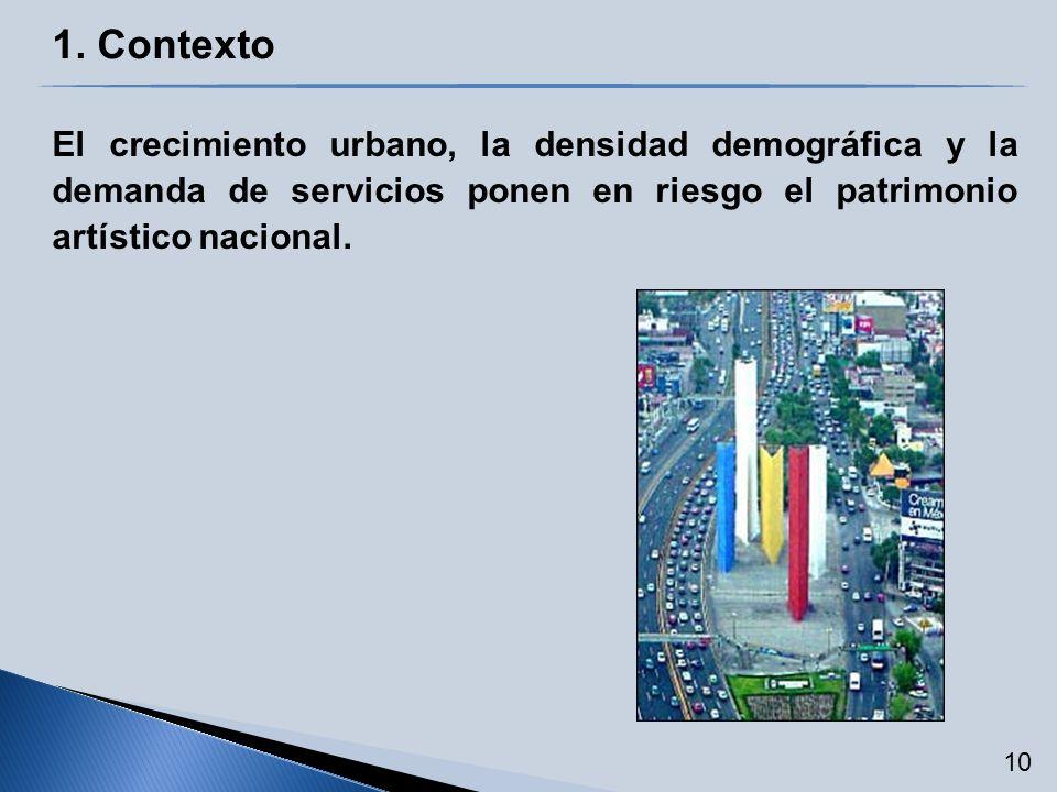 1. Contexto El crecimiento urbano, la densidad demográfica y la demanda de servicios ponen en riesgo el patrimonio artístico nacional. 10