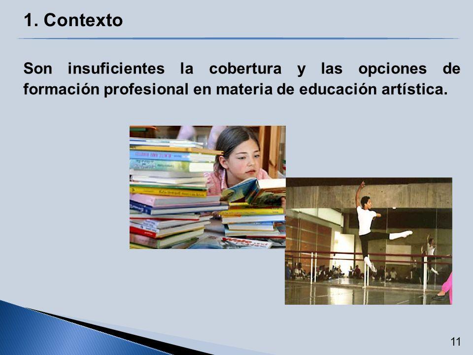 1. Contexto Son insuficientes la cobertura y las opciones de formación profesional en materia de educación artística. 11