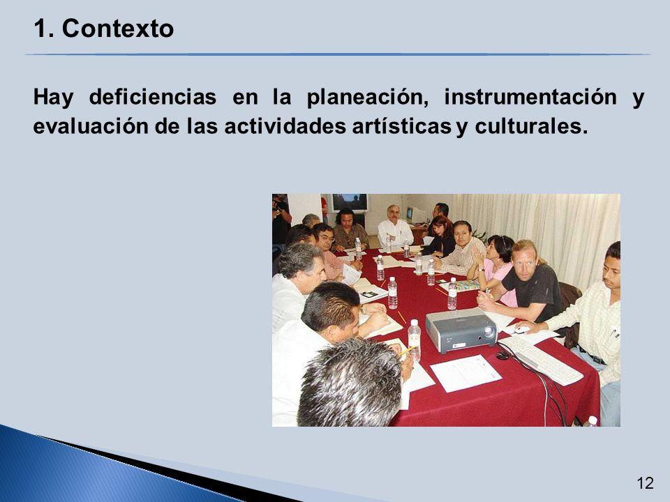 1. Contexto Hay deficiencias en la planeación, instrumentación y evaluación de las actividades artísticas y culturales. 12