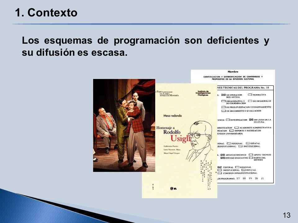 Los esquemas de programación son deficientes y su difusión es escasa. 1. Contexto 13