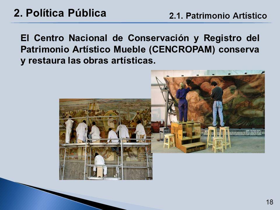 2. Política Pública 2.1. Patrimonio Artístico El Centro Nacional de Conservación y Registro del Patrimonio Artístico Mueble (CENCROPAM) conserva y res
