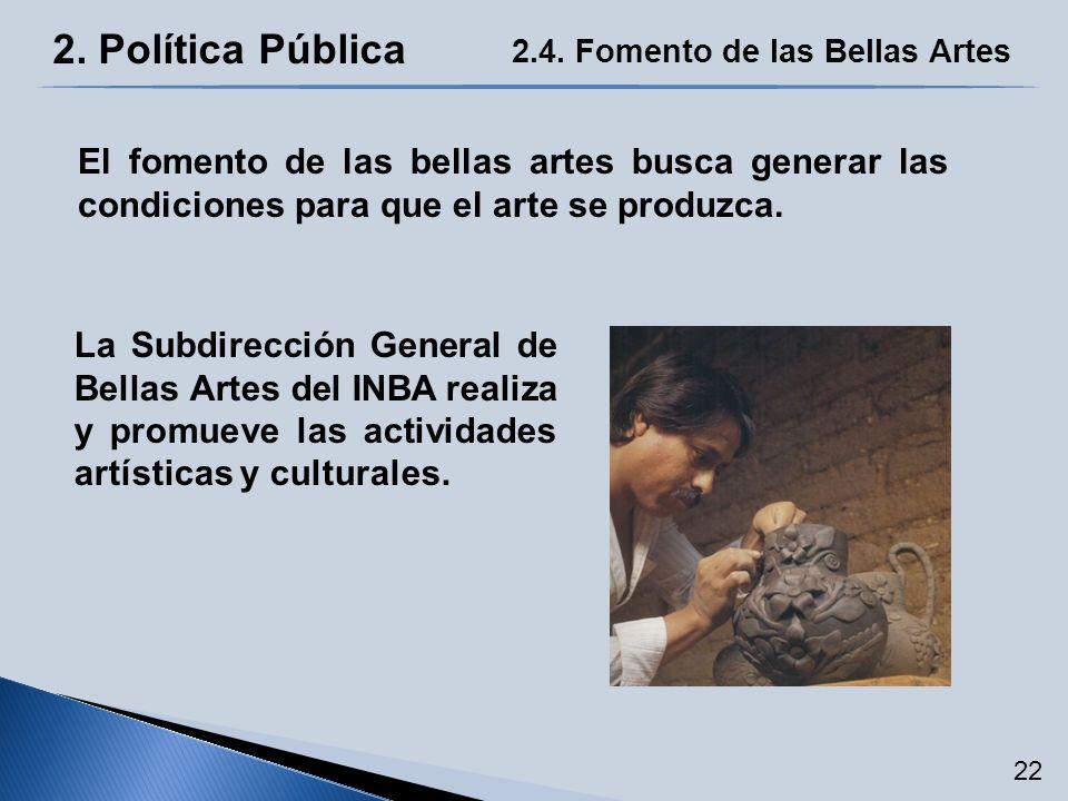2. Política Pública 2.4. Fomento de las Bellas Artes El fomento de las bellas artes busca generar las condiciones para que el arte se produzca. La Sub