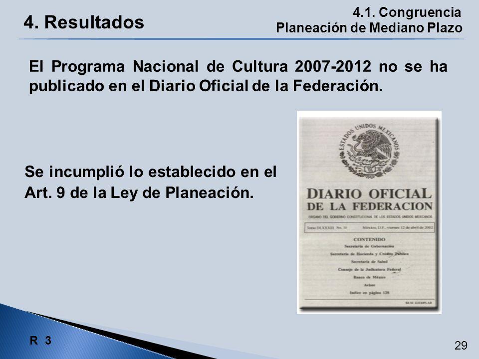 4. Resultados Planeación de Mediano Plazo 4.1. Congruencia Se incumplió lo establecido en el Art. 9 de la Ley de Planeación. El Programa Nacional de C
