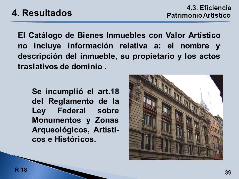 4.3. Eficiencia Patrimonio Artístico R 18 39 El Catálogo de Bienes Inmuebles con Valor Artístico no incluye información relativa a: el nombre y descri