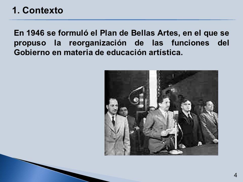 En 1946 se formuló el Plan de Bellas Artes, en el que se propuso la reorganización de las funciones del Gobierno en materia de educación artística. 4